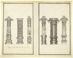 Six carved pillars of the temple at Avutaiyar Kovil, near Tanjore